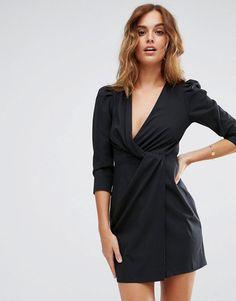 ASOS Wrap Front Mini Dress - Black