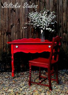Another piece (well, pieces!) done in milk paint, this time bright red… :: Hometalk