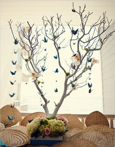 @Amanda Snelson Forsell we could do something like this. hang some of those pom pom flowers you like twinkle lights have candles on the table and maybe those pails that spell out love with some flowers. we could spray paint the tree branches white or silver.
