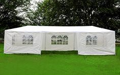 Carports - MCombo 10x30 White Canopy Party Outdoor Gazebo Wedding Tent 7 Removable Walls 6053W1030w7PC *** Be sure to check out this awesome product. (This is an Amazon affiliate link)