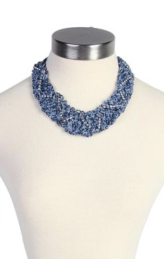 braided seed bead necklace with stone chain