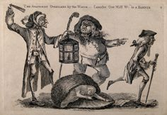 Body snatcher disturbed by a watchman, as the anatomist William Hunter flees, 1773.