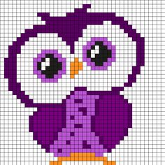 Purple Owl Perler Bead Pattern More Mehr Cross Stitch Owl, Cross Stitch Animals, Cross Stitch Charts, Cross Stitch Designs, Cross Stitch Embroidery, Cross Stitch Patterns, Cross Stitches, Knitting Stitches, Kandi Patterns