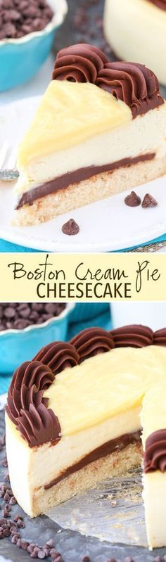 Boston Cream Pie Cheesecake - a vanilla cake bottom, fudgy chocolate ganache filling, thick and creamy cheesecake and pastry cream topping! This may just be the perfect t dessert. Brownie Desserts, No Bake Desserts, Just Desserts, Delicious Desserts, Dessert Recipes, Spanish Desserts, Health Desserts, Recipes Dinner, Cocktail Recipes
