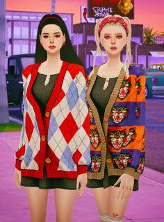 Sims 4 Teen, Sims Cc, Tumblr Sims 4, Urban Male, Alpha Female, Sims 4 Cc Finds, Sims 4 Clothing, Sims 4 Mods, Knit Cardigan
