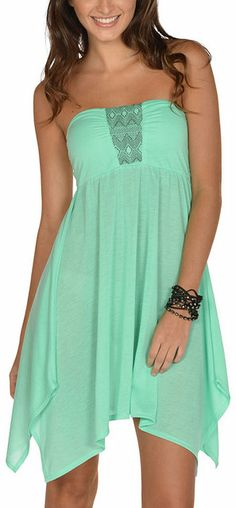 Mint Strapless Dress. Perfect for summer.  No strap tan lines