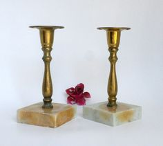 Brass and Marble Candle Holders Rustic by BunnyFindsVintage #vintage #home