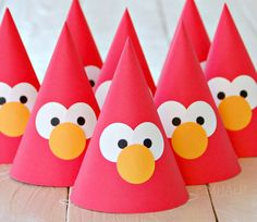 The Vintage Muppet Collection ELMO - Custom Party Hats SET of SIX from Mary Had a Little Party on Etsy, $22.50