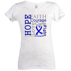 Colon Cancer Hope Courage Womens Burnout Tee> Hope Faith Courage Colon Cancer Shirts> Hope & Dream Cancer Awareness T-Shirt Store