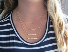 Hammered Bar Necklace, Gold filled or Sterling Silver in Your Choice of Size