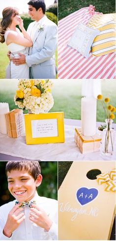 Love the yellow details of this wedding. And the cornhole games! Thinking lawn games would be a fun addition...