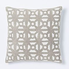 Modern Crewel Lattice Pillow Cover - Platinum #westelm