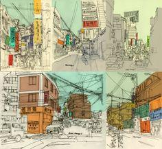 Urban Sketcher: Seoul Compilation #sketching #street_scenes