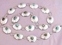 Vintage 1970s Handcrafted Sterling Silver Nevada Turquoise Concho Links Belt