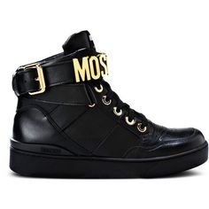 Moschino High-Top Sneaker ($535) ❤ liked on Polyvore featuring shoes, sneakers, black, black trainers, moschino shoes, black hi tops, rubber sole shoes and high top shoes