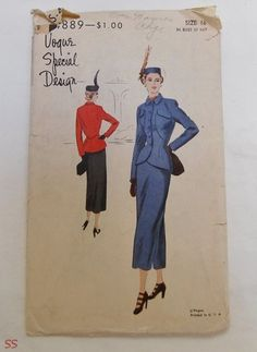 VSD S-4889 Beautiful Seamed Suit Jacket & Skirt 40s Sz16 B34 H37 FF complete/ unprinted Suit:Fitted jacket w/cutaway fronts below high buttoned closing.Lapped seam finish on shaped section topped by flap pockets.Small turn down collar.Long 2pc sleeves.Straight 3pc skirt w/optional vents at sides.