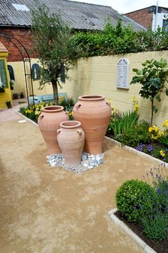Use terracotta pots, yellow walls, yellow and purple flowers and olive and lemon trees for a Mediterranean garden
