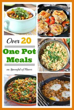 Over 20 One Pot Meals to save you time and take the stress out of meal planning! #weeknightmeals #onepot