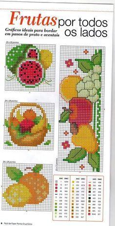 Frutas ponto cruz Cross Stitch Fruit, Cross Stitch Bookmarks, Cross Stitch Rose, Cross Stitch Borders, Cross Stitch Charts, Cross Stitching, Cross Stitch Embroidery, Cross Stitch Patterns, Cross Stitch Geometric