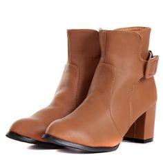 Mix-matched Pure Colour Belt Fastener Embellished Low-heeled Boot Brown i3644602