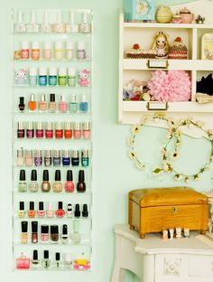 Wall mounted displays for nail polish. Cupcake's Clothes: ♥ Nail Polish Storage