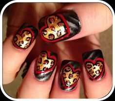 Leopard hearts ... Nail Art Design