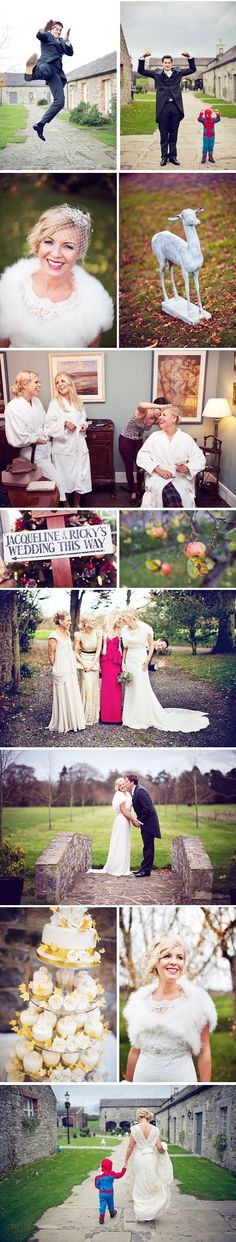 classic irish manor wedding.  My fav pic is where the Groom is peeking out from behind the Bride and attendants.