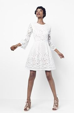 Eliza J - White Lace Bell Sleeve Fit & Flare Dress