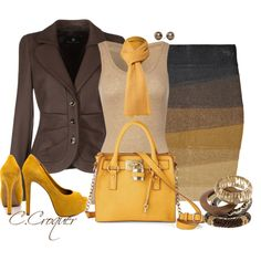 """""""Matching Scarf, Shoes & Bags - Mustard"""" by ccroquer on Polyvore"""