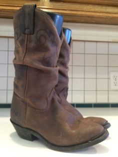 1a093fc5542 Double H Ladies Leather Western Slouch Cowgirl Boots 5252 Size 7.5 M (Lot A)