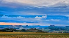 Typical landscape with former volcanic hills in Bohemian Middle-Highlands, Czechia