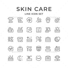 Line Icons of Skin Care. Fully customisable set of icons.Set Line Icons of Skin Care. Fully customisable set of icons. Icon Design, Web Design, Design Art, Icons Web, Vector Icons, Sketch Icon, Skin Line, Skin Structure, Face Icon