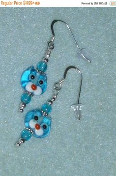 Halloween SPECIALS Children's 925 Sterling Silver Teal Blue Kitty Cat  Dangle Earrings
