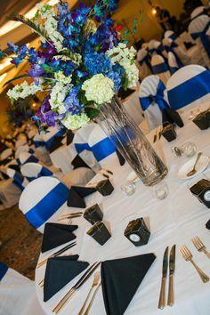 blue reception wedding flowers, wedding decor, wedding flower centerpiece.