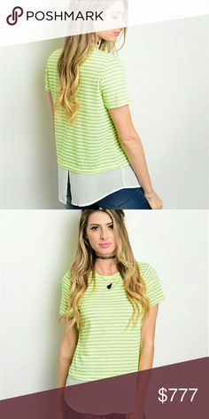 {Lime & Gray Striped Tee} This super soft knit top features short sleeves, sheer layered hem, and a round neckline.   Made in the USA  Bust Measurements S: 36 inches  M: 37 inches  L: 39 inches  Brand new boutique item.  Offering 15% off all bundles of 2+ items. b-Sharp Tops Tees - Short Sleeve