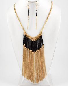 Gold Tone Metal / Black Acrylic Beads / Lead Compliant / Necklace & Fish Hook Earring Set