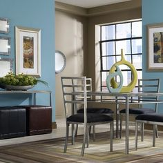 Cool blues and strong steel - the Sydney Dining Room has great contrast to liven up small spaces.   #interiordesign