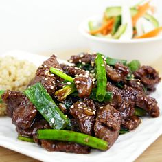 Mongolian Beef. Do takeout at home in less than 15 minutes. It's faster and whole lot healthier, but it tastes like the real deal! #foodgawker