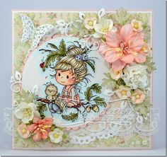 bev-rochester-wee-oak-tree-girl-peach, Card with stamped image and flowers
