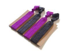 Elastic Hair Ties Royal Purple and Dark Grey No Crease Yoga Hair Bands #grey #purple #royalpurple #hairties #hairbands #nocrease #ponytailholders #elastic #yoga
