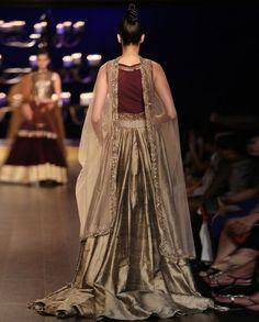 Gold Kurta Set with Zari Embellished Wine Bodice - Indian Couture Week 2014 - Runway - Shop Women