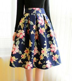 Vintage High-Waisted Floral Print Ruffled Women's Skirt