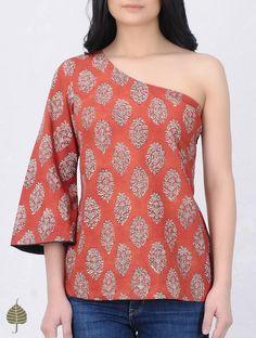 Madder-Beige Block-Printed Cotton Top by Jaypore