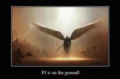 PJ is on the ground