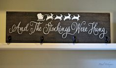This beautiful wood Christmas stocking hanger is made with solid pine wood and stained in dark walnut with wording And The Stockings Were Hung and