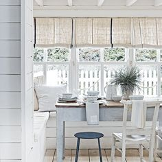 Looking for fresh new coastal interiors decorating ideas? From beach theme bedrooms to bright and airy living rooms, we've got beautiful coastal style ideas to transform every room. Living Room Blinds, House Blinds, Couch Grey, Seaside Style, Coastal Style, Modern Coastal, Coastal Living Rooms, Coastal Entryway, Coastal Farmhouse