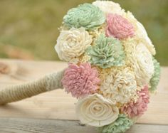 Medium Wedding Bouquet Sola Flowers with dried Flowers Tea Green Mint and Blush Pink Alternative Keepsake Bolsa Wood Flowers