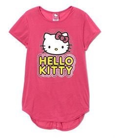 This Pink & Yellow 'Hello Kitty' Hi-Low Tee - Girls by Hello Kitty is perfect! #zulilyfinds