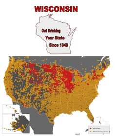WISCONSIN - USA MAP - MORE BARS THAN ANY OTHER STATE SINCE 1848!