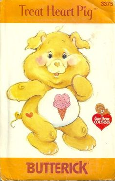 Butterick 3375 1980s Treat Heart Pig Care Bear Cousins Stuffed Animal Vintage Sewing Pattern by patterngate.com